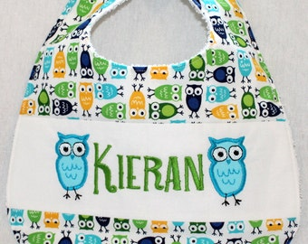 Custom Bib with baby name in Owl fabric