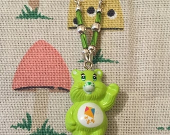 Care Bears Necklace With Green Bead Detail