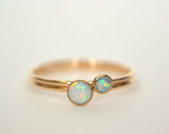 Set of Two 14k Solid Gold Opal Rings, 14k Gold Opal Ring, Opal Ring Gold, Stackable Ring, Stacking Ring, White Opal, Pink Opal, Blue Opal