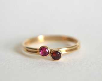 Set of Two Gold Filled Ruby Rings, Gold Ruby Ring, Gold Garnet Ring, Ruby Ring Gold, Gold Stacking Ring, Stackable Ring, Gold Dainty Ring