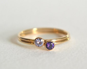 Set of Two Gold Filled Rings, Stacking Ring, 14k Gold Ring, Stackable Ring, Amethyst Ring, Purple Lavender Lilac Ring