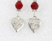 Swarovski bead and heart earrings