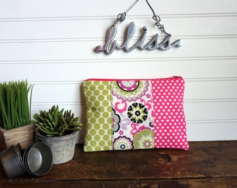 Large Flat Make Up Bag, Pink, Lime and Grey Flowers and Dots, Zipper Pouch, Travel Bag