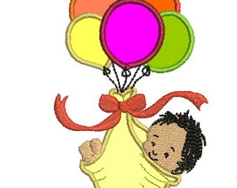 BABY AND BALLOONS applique