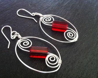 Red Swirl Earrings