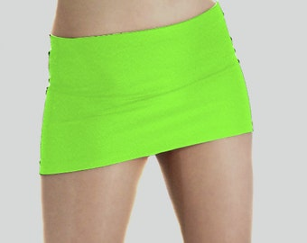 Flo green spandex micro mini skirt