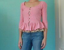 Betsey Johnson Pink Cardigan with Lace Peplum