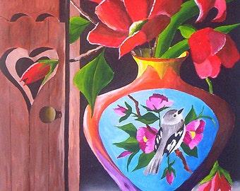"""Première lumière du matin, peinture de fleurs acrylique, nature morte originale peinture rouge Floral peinture 9 x 12"""" par l'artiste Michael Hutton"""