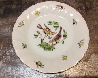 Vintage Plate Georges Briard Woodland Melody American Tree Sparrow Birds Fruit Botanical