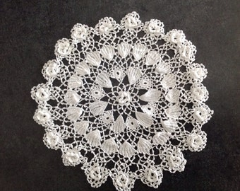 Crocheted Crochet Doily Hand Crafted Sewn Delicate Round White Flowers Shells Star