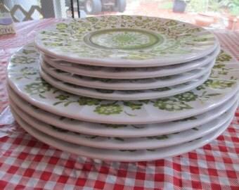 Melmac Plates, Set of 8 Dinner and Dessert Plates, Avocado Plate Set