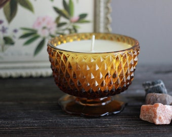 Fig Tree Scented Soy Wax Candle- Brown Upcycled Glass Container