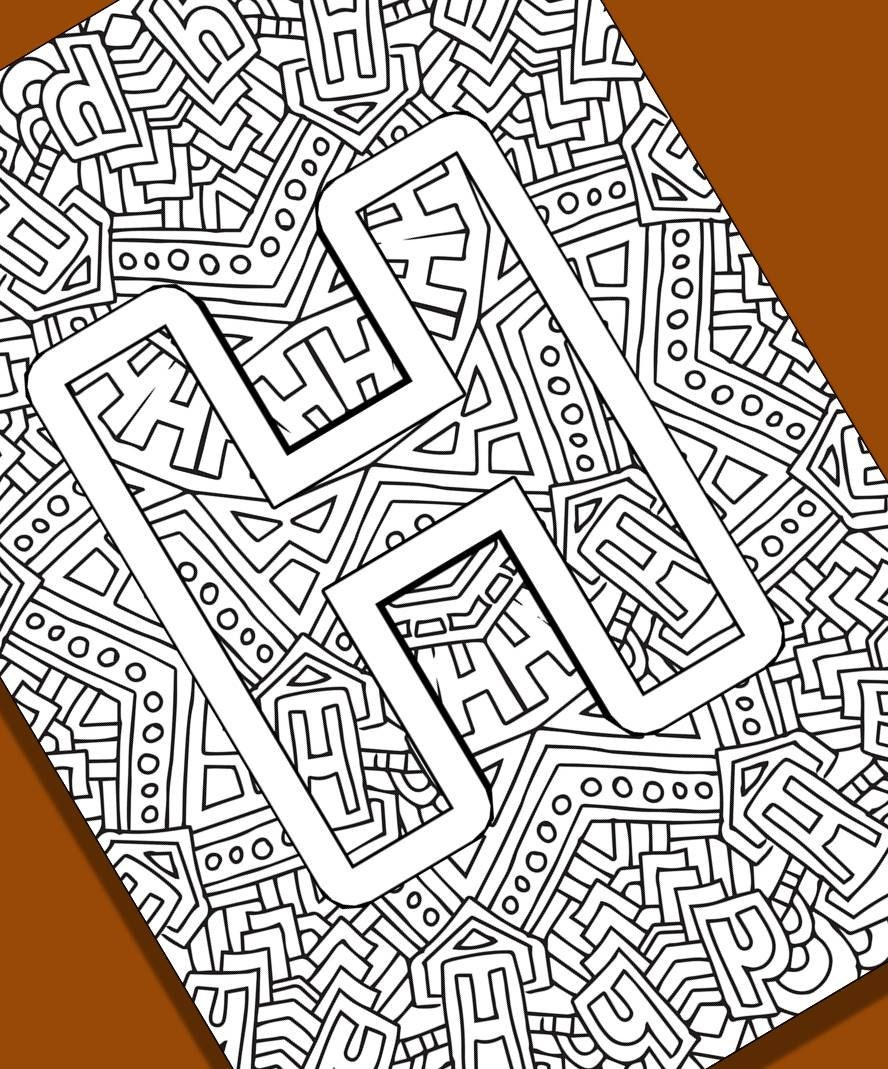 Alphabet Adult Coloring Pages Instant Download Letter H