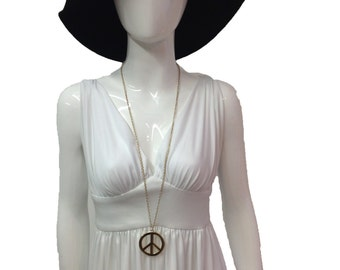 Vintage 70s white maxi dress gladiator goddess dress 8
