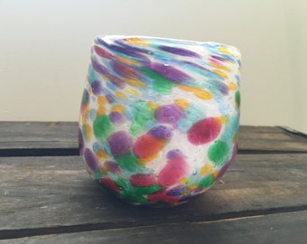 Colorful Hand Blown Glass Vessel