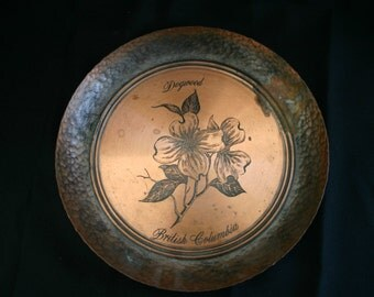 Vintage copperware plate.  Fantasy. Made in Canada.  Hand Wrought.