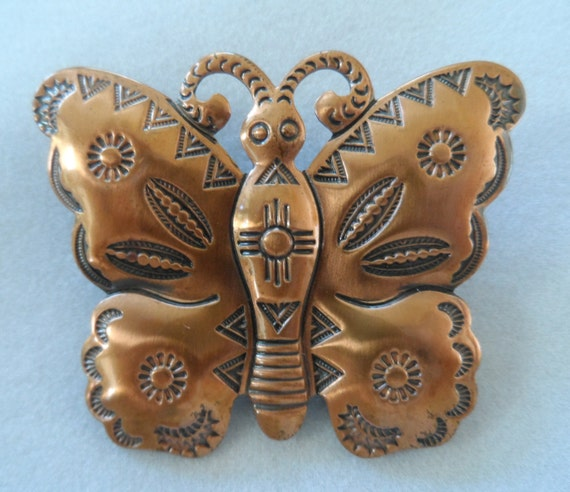 Brooch copper overlay butterfly with pressed pattern - pin Vintage