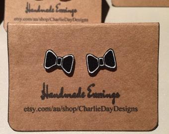 Bow Earrings, Black and White Earrings
