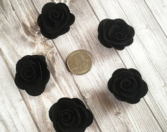 Black burlap flowers - Set of 5 - Crafting roses - Craft supply flowers - 1 3/4 inch - DIY headband - Crafting supplies - Burlap roses