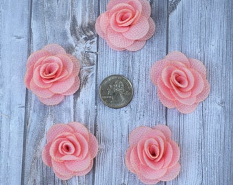 Baby pink burlap flowers - Set of 5 - Crafting roses - Craft supply flowers - 1 3/4 inch - DIY headband - Crafting supplies - Burlap roses