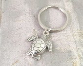 Turtle Keychain, large turtle silver charm, Save the Turtles Keyring, turtle gift, wildlife keyring, endangered species
