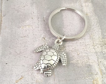 Turtle Keychain, large turtle silver charm, Save the Turtles Keyring, turtle gift, wildlife keyring, endangered species