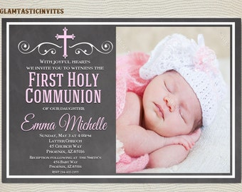 First Communion Invitation Girl, Girl First Communion Invitation, First Communion Invitation Printable, First Communion Girl, Girl Invite