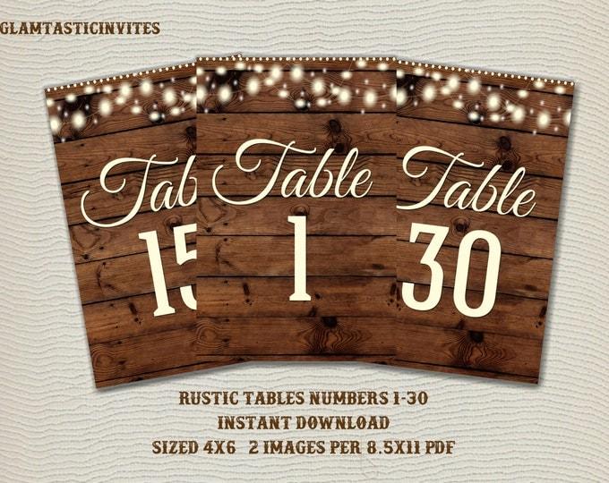 Rustic Table Numbers, Printable Table Numbers, Wedding Table Numbers, Instant Download, Rustic Wedding, Printable, Tables 1-30, Rustic
