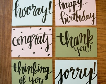 essential typography greeting card set | all occasion greeting card | happy birthday card | sympathy card | congrats card | calligraphy card