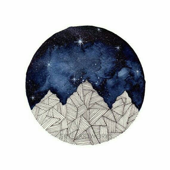Mountains Watercolor Painting Blue Galaxy Art Print