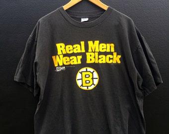 Boston Bruins Real Men Wear Black 1990 Vintage Tshirt