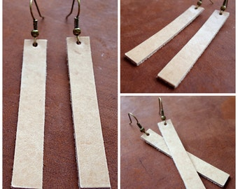 Dangle drop earrings lightweight in beige veg-tan leather, inspired by HGTV's Joanna Gaines earrings / boho / 3rd anniversary