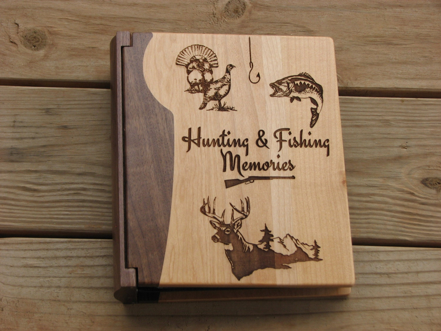 Laser engraved wood photo album hunting and fishing memories for Hunting and fishing gifts