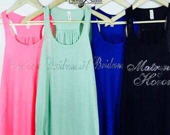 Bridesmaid Rhinestone Tank Top, Bridesmaid, Maid Of Honor, Matron Of Honor, Green, Pink, Black and Blue
