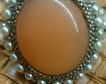 Vintage Adjustable Apricot Oval Ring with Seed Pearls