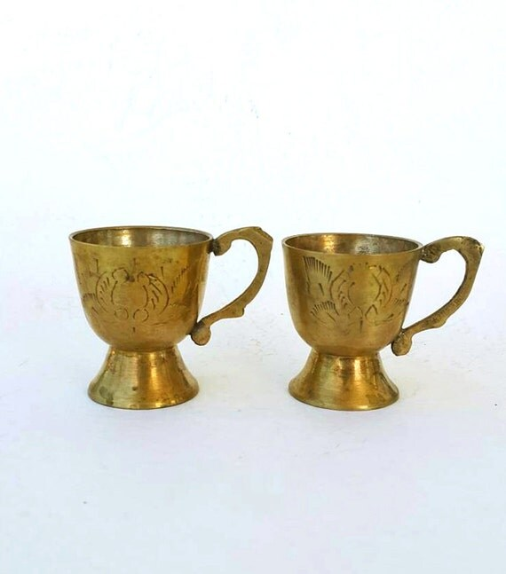 Vintage brass cups Solid brass goblets Etched gold tone brass home decor Small collectible cups Rustic oriental pedestal cups