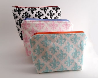 FLEUR DESIGN - Black, Blue, Pink Cosmetic bag | Travel Size bag | Zipper Pouch | Makeup bag
