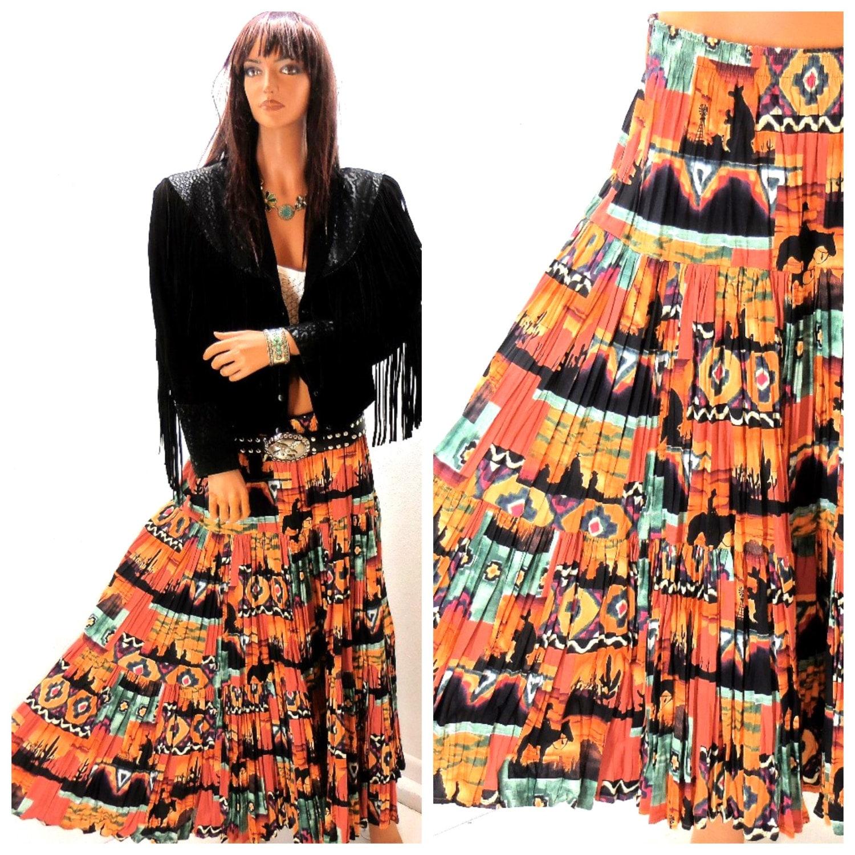 Southwestern Santa Fe broomstick skirt S / M 80s 90s boho