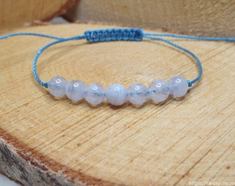 BLUE LACE AGATE bracelet - calming, lends a sense of peace+tranquility, assists with verbal expression of thoughts and feelings
