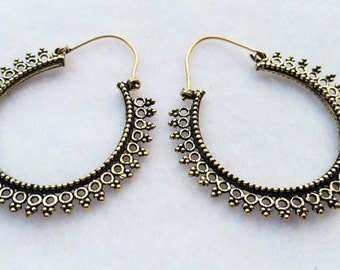 Brass Hoop Earrings, Hoop Earrings, Boho Earrings, Tribal Jewellery, Ethnic Jewellery, Silver Jewellery, Indian Jewellery