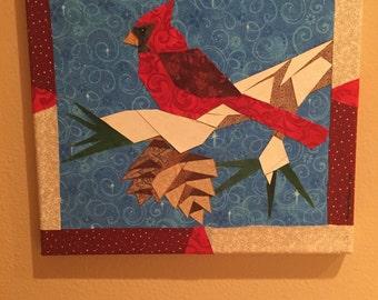 Quilt Art: Cardinal & Pinecones