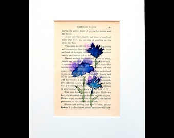 Original Watercolor Painting of Blue/Purple Flowers on Vintage Book Page