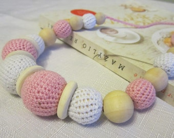 Teething Necklace- Breastfeeding Jewelry- Wooden Teether-Breast necklace