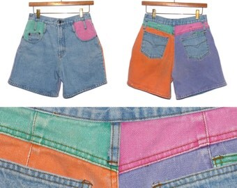 Color Block Pastel Short Shorts - IOU High-Rise Shorts - Size 7