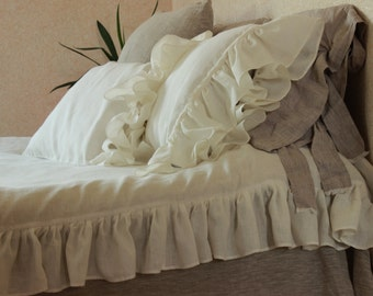 Luxurious Duvet Cover Vintage Style with ruffles 3 sides Comletely Organic Eco Friendly 100% Linen Ruffled Duvet Cover Twin XL Double Queen