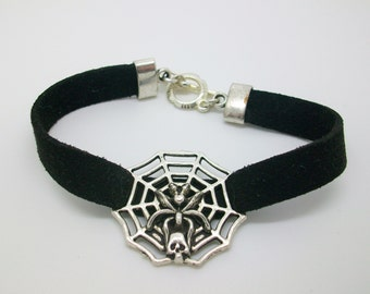 Spider web - Gothic style bracelet with spider, web and skull