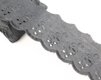 5 Metres x Broderie Anglais Lace trim 50mm  - Black [Lace Ref B204729]