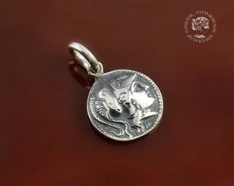 Athena silver pendant, Athena pendant, ancient coin pendant, coin pendant, greek coin pendant, greek pendant, ancient coin, greek goddess