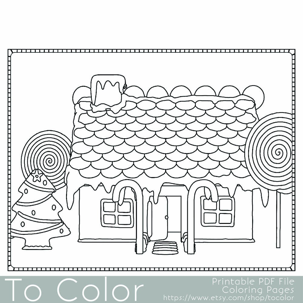 Christmas Coloring Page For Adults Gingerbread House By