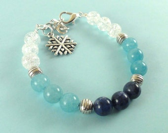 Winter Winter Winter Winter Accessories-Bangle Bracelet-Jewelry-Snowflake pendant-Christmas Gift-Blue Bracelet